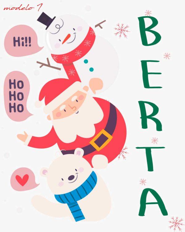 saco para regalos con dibujo de papa noel oso y muñeco de nieve